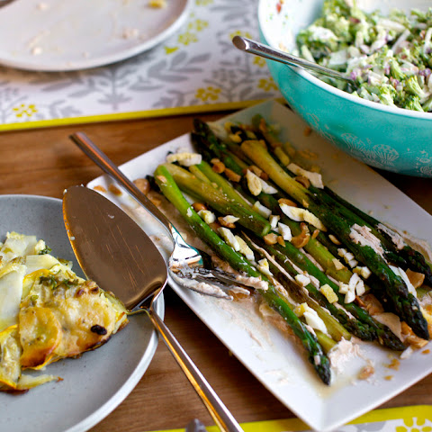 Roasted Asparagus with Smoky Lemon Yogurt, Chopped Eggs and Toasted Almonds