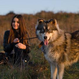 Linda by Stefka Pantova - Animals - Dogs Portraits ( walking, girl, sunset, summer, summer fun, dog,  )