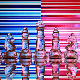 Glass chess pieces and lines by Peter Salmon - Artistic Objects Glass ( colour, pieces, chess, glass, lines )