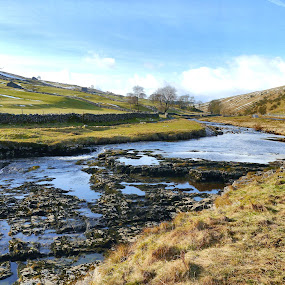 A Sunny Day in Langstrothdale by James Holdsworth - Landscapes Waterscapes ( walls, waterfall, beck, barns, rocks, sun, river )