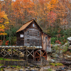 Glade Creek Grist Mill by Michael Sharp - Buildings & Architecture Public & Historical ( autumn, west virginia, grist mill, fall, united states, babcock state park )
