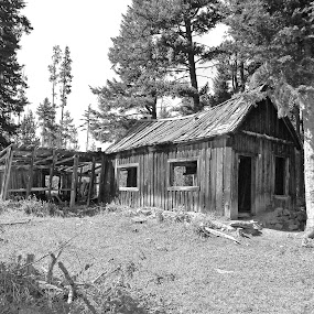 Abandoned Home by James Oviatt - Black & White Buildings & Architecture