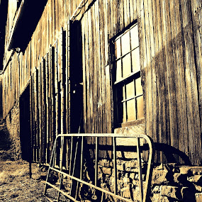 Old Barn  by Carly Stine - Buildings & Architecture Other Exteriors ( farm, sepia, barn, rock, gate )