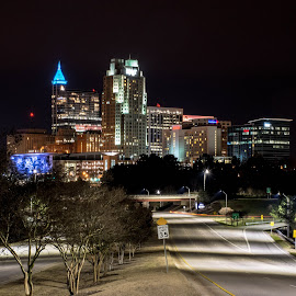 Raleigh Blue by Thomas Shaw - City,  Street & Park  Skylines ( skyline, building, skyscrapers, street, downtown raleigh, road, cityscape, raleigh, city, north carolina, lights, tree, blue, trees, downtown )