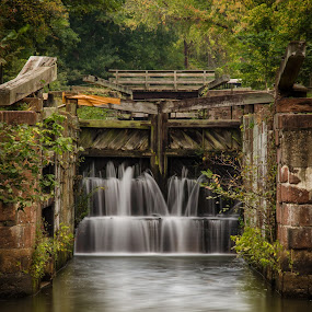 Summer at the Canal by Dan Girard - Travel Locations Landmarks ( water, reflection, smooth, silky, splash, great falls waterfalls, waterfall, capture, maryland, motion, potomac river )