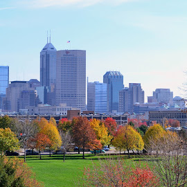 Late fall, Indianapolis... by John Pobursky - City,  Street & Park  Skylines ( cityscapes, indiana, fall_colors, indianapolis, midwest )