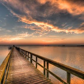 Evening in september by Kim  Schou - Landscapes Cloud Formations ( hestehovedet, kim schou, sunset, nakskov fjord, , landscape, beach, color, colors, portrait, object, filter forge, blue, orange. color, golden hour, sunrise )