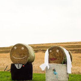 Bride and Groom Bales by Gary Wahle - Wedding Bride & Groom ( countryside, hay bales, wedding, bride and groom, groom,  )