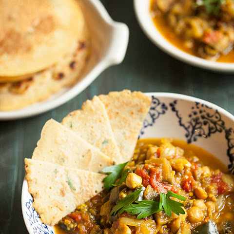Eggplant, Tomato, and Chickpea Curry with Chickpea Rice Flatbread (Gluten Free)