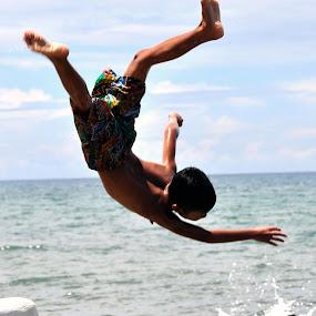 AERIAL VOYAGE by Dominic Malanog - Babies & Children Children Candids ( dive, shoreline, kamikaze )
