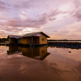 The floating house by Victor Sim - Landscapes Sunsets & Sunrises ( farm, clouds, reflection, sky, sunset, tropical, floating, house, river )