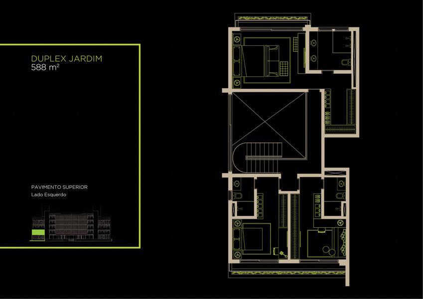 Apto  Duplex Jardim (1A)  - 588 m² - Piso Superior