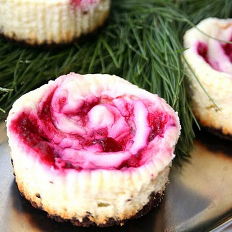 Cranberry Swirl Cheesecakes with Chocolate Crust