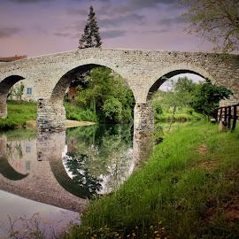 The Old Bridge by Mark Soetebier - Buildings & Architecture Bridges & Suspended Structures ( canon, toscane, tuscany, toscana, old bridge, bridge, roman )
