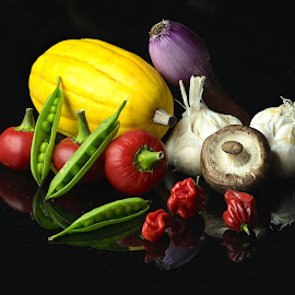 VEGETABLE MEDLEE by Jim Downey - Food & Drink Fruits & Vegetables ( onions, peppers, garlic, cherry tomatos, squash, peas )