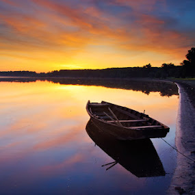 Sunrise by Catalin Palosanu - Landscapes Sunsets & Sunrises ( water, clouds, reflection, sunrise, boat, river )