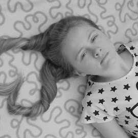 Happy Hair by Andrew Gunther - Babies & Children Child Portraits ( monochrome, girl, heart, creative, happy, fine, hair )
