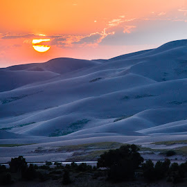 Sunset over the Dunes by Richard Michael Lingo - Landscapes Deserts ( sand, dunes, sunset, sandunes, landscape, great sand dune national park )