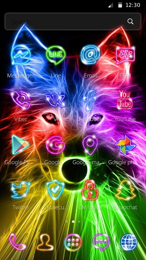 3D Wild Neon Wolf Theme android apps download