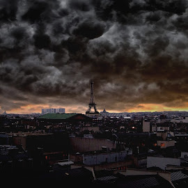 Paris rooftop  by Alex  Wolf - Buildings & Architecture Public & Historical ( cool, clouds, paris, skyline, alex wolf, france, rooftop, wolfprodu tion.us, storm )