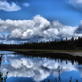 Clouds and reflections by Leslie Collins - Landscapes Cloud Formations ( water, clouds, sky, trees, reflections, leaves )