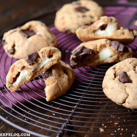 Peanut Butter Chocolate Chunk Cookies with a Marshmallow Center