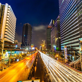 City Night by Asher Lwin - Abstract Patterns ( bangkok, light trail.night, pwclines, thailand, long exposure, city )