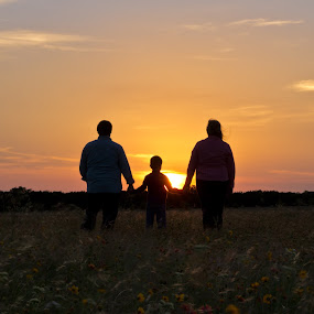 Prairie Sunset by Roger Armstrong - People Family ( wildflowers, family, sunset, silhouette, dusk )
