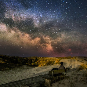 The Stargazer by Jocke Mårtensson - Landscapes Starscapes ( milkyway, relaxed, stars, night, beach )