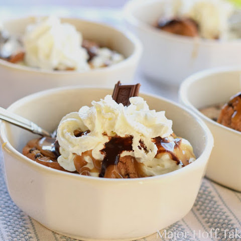 Butterscotch Chocolate Chip Cookie Ice Cream Sandwich Sundaes