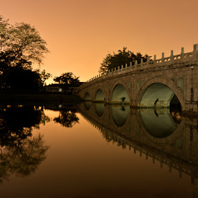 Stone Bridge at Dusk by Chester Chen - Buildings & Architecture Bridges & Suspended Structures ( stone, bridge, dusk )