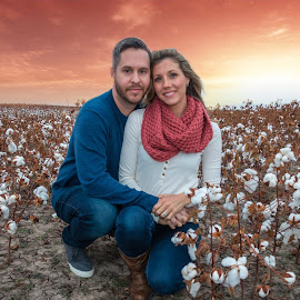 Cotton Field Sunset by Kathy Suttles - People Couples (  )
