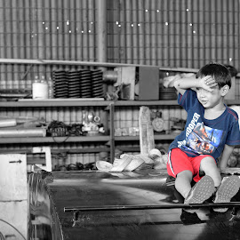 Azzamy by Bastian M - Babies & Children Child Portraits ( child portrait, children, bw, edited, playing, children photography )