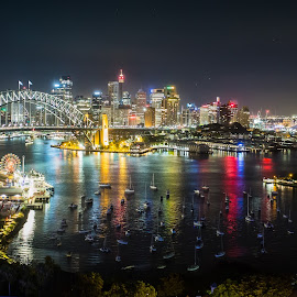 Sydney Harbour at Night by Peter Hutchison - City,  Street & Park  Skylines ( skyline, harbour )