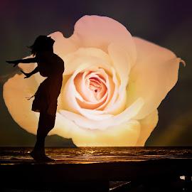 Freedom by Allie Cook - Digital Art People ( rose, double exposure, sunset, silhouette, digital art )
