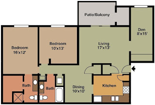 Castleton Manor Floor Plan 2 Bed 2 Bath 1220 SqFt