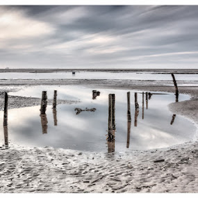 Skeleton by Jon Hunter - Landscapes Beaches ( water, sand, reflection, sky, still, beach )