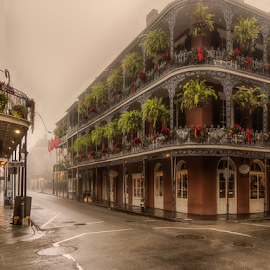French Qtr in the Fog by Sheldon Anderson - City,  Street & Park  Historic Districts ( new orleans, haunting, dec, fog, am, 2016, jackson square )