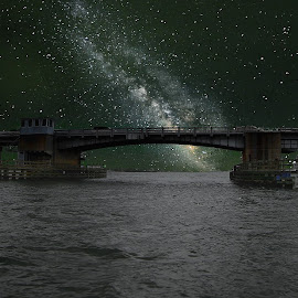 Honey Moon Island Bridge by Alex  Wolf - Buildings & Architecture Bridges & Suspended Structures ( water, alex wolf, wolfproduction.us, stars, florida, reflections, night, boat, milky way )