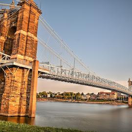 Ohio River Bridge Cincinnati by Aditya Shrivastava - Buildings & Architecture Bridges & Suspended Structures ( ohio, long exposure, cincinnati, bridges, longexposure )