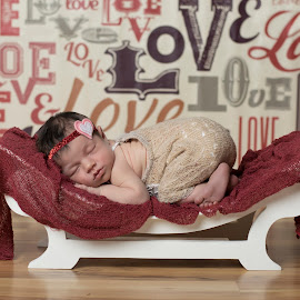 Love Love Love by Nicole Ferris - Babies & Children Babies ( love, red, girl, bench, baby girl, sleeping, baby, newborn )