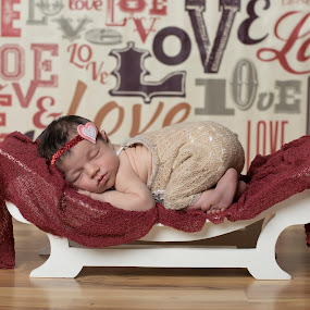 Love Love Love by Nicole Ferris - Babies & Children Babies ( love, red, girl, bench, baby girl, sleeping, baby, newborn )