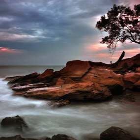 Dawn  by Rashid Mohamad - Landscapes Beaches ( dawn, empire hotel and country club, nature, beach, coastal, slow shutter )
