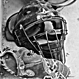 The Mask That Hides Fear by Brian  Shoemaker  - Sports & Fitness Baseball ( catcher, gear, black and white, baseball, fearless )