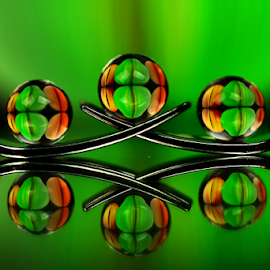 Balance by Dipali S - Artistic Objects Other Objects ( abstract, orange, reflection, fork, colorful, green, still life, art, spheres, refraction, balance, color, artistic,  )