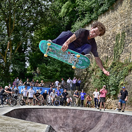 Flying On The Board ! by Marco Bertamé - Sports & Fitness Skateboarding ( skateboarding, flying, rope, skatepark préitruss, green, kateboard, air, high, grund, dangerous, luxembourg, jump )