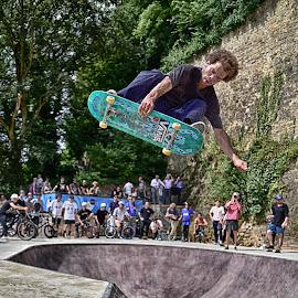 Flying On The Board ! by Marco Bertamé - Sports & Fitness Skateboarding ( skateboarding, flying, rope, skatepark préitruss, green, kateboard, air, high, grund, dangerous, luxembourg, jump,  )