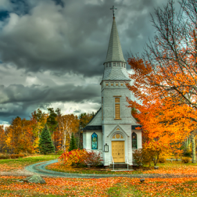 Little White Church by Chris Cavallo - Buildings & Architecture Places of Worship ( clouds, orange, steeple, autumn leaves, church, autumn, green, fall, white, trees, road, yellow, autumn colors,  )