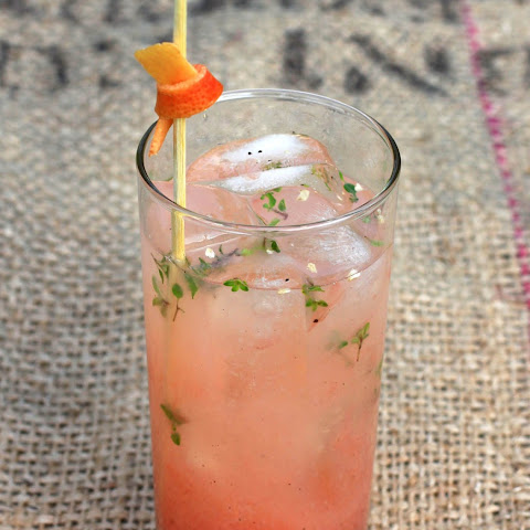"""Old Dog, New Trick"" gin and pink grapefruit juice cocktail with thyme and black pepper"