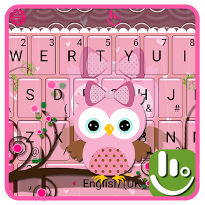 Pink Bow Owl Keyboard Theme For PC